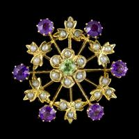 Antique Suffragette Floral Pendant 9ct Gold Amethyst Peridot Pearl c.1910 (3 of 6)