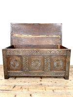 Antique 18th Century Carved Oak Coffer (4 of 10)