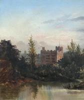 Lovely Original Mid 19th Century Antique British Castle River Landscape Oil Painting (7 of 11)