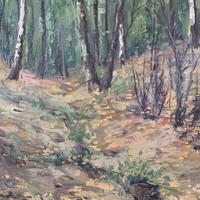 Antique German Impressionist Landscape Oil Painting of Woodland Signed Keiker (6 of 10)