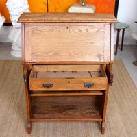 Oak Bureau Arts & Crafts Writing Desk Chest Edwardian Slim (12 of 12)