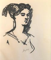 Original black marker pen painting 'Portrait of a woman, Perugia Aug 1956' by Toby Horne Shepherd 1909-1993. Signed. 1956.