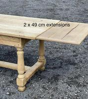Large Bleached Oak Farmhouse Dining Table with Extensions & Storage (35 of 35)
