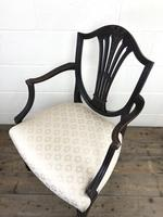 Antique 19th Century Open Arm Carver Armchair with Fabric Seat (M-1196) (9 of 11)