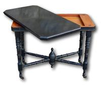 Victorian Ebonised Fold Over Card Table On Original Casters (5 of 5)