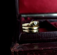 Victorian 18ct Gold Snake Ring, Diamond (10 of 14)