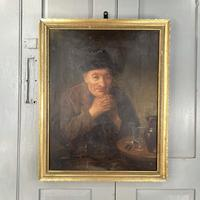 Antique Victorian Oil Painting Portrait of Man with Hat in Inn Pub Ale House (2 of 10)