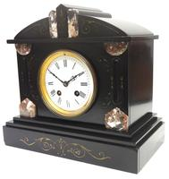 Fine Antique French Slate Mantel Clock - Bell Striking 8-day Mantle Clock c.1900 (5 of 12)