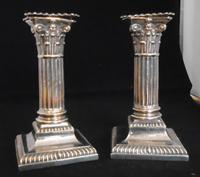 Pair of Silver Dwarf Corinthian Column Candlesticks (2 of 14)