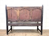 Antique Carved Oak Settle Bench (10 of 10)