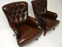 Pair of Antique Victorian Style Leather Armchairs (4 of 8)