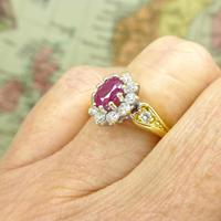 Vintage 18ct gold oval ruby & diamond cluster ring ~ Valentine proposal (7 of 10)