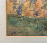 Outstanding 20thc Signed Autumn Landscape Castle Ruin Watercolour Painting (3 of 11)