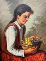 The Fruit Seller - Attractive Original Early 1900s Italian Oil Portrait Painting (6 of 10)
