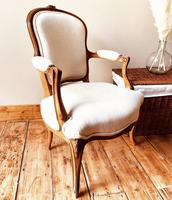 French Antique Style Chairs / Louis XV Armchairs / Walnut Chairs / Fauteuils (4 of 8)