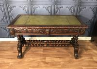 Victorian Carved Oak Desk Library Table (6 of 25)