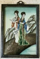 Pair of Chinese Reverse Glass Painting c.1920 (9 of 9)