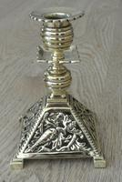 Fine Aesthetic Movement Desk Set Brass Inkwell & Brass Candlesticks c.1880 (6 of 11)