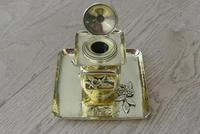 Fine English Victorian Brass Inkwell in the Japanese Inspired Style c.1880 (2 of 7)