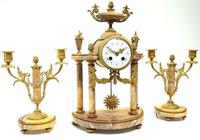Antique 8 Day French Ormolu & Marble Mantel Clock Set with 2 Branch Candelabras (2 of 10)