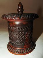 Victorian Carved Hardwood Tobacco Pot (6 of 6)