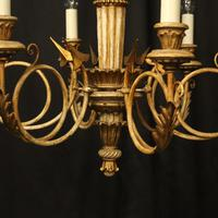 French Giltwood Polychrome 6 Light Chandelier (4 of 10)