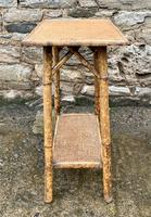 Antique Victorian Bamboo & Rattan Occasional Side Table (3 of 9)