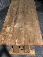 French Bleached Oak Trestle Farmhouse Dining Table (2 of 18)
