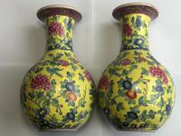 Pair of Chinese Imperial Style Yellow Ground Porcelain Chrysanthemum Lotus Vases (27 of 28)