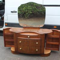 1940's Large Walnut Deco Dressing Table with Mirror by Shraeger (3 of 8)