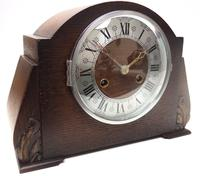Good Art Deco Oak Mantel Clock – Striking 8-day Arched Top Mantle Clock (2 of 9)