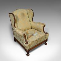 Antique Wing-Back Armchair, English, Fireside, Lounge, Seat, Edwardian, 1910 (7 of 12)