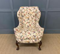 Upholstered Walnut Wing Armchair (2 of 9)