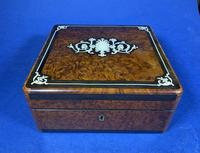 Victorian French Burr Cedar Jewellery Box with Inlay & Original Interior (3 of 13)
