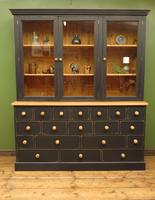 Black Painted Pine Apothecary Cabinet Style Dresser with Multi Drawer Base