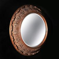 Large 19th Century Swedish Oval Carved Oak Mirror by A Lundmark (8 of 9)