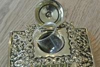 Large Victorian Brass Inkwell by William Tonks with Glass Liner WT&S c.1895 (3 of 9)