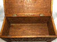 Large vintage Chinese tribal camphor wood carved chest coffee table (8 of 12)