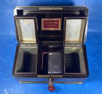 Victorian French Tortoiseshell Twin Canister Tea Caddy (8 of 17)