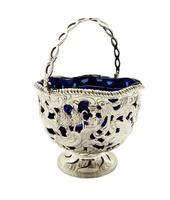 Antique Sterling Silver Basket with Scenes &  Blue Glass Liner 1901 (2 of 11)