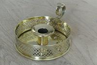 Antique Brass Georgian Gallery Chamberstick by Pearson Page Candlestick 2 c.1910 (2 of 9)