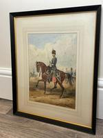 Military Watercolour Prince of Wales Own 10th Royal Hussars Guard on Horseback by Henry Martens c.1850 (26 of 53)