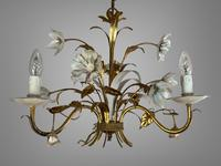 Pair of Vintage French 3 Arm Gilt Toleware Ceiling Light Chandeliers (8 of 10)
