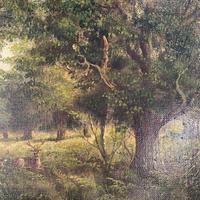 Antique Landscape Oil Painting of Deer in Richmond Park Signed JI Lewis (9 of 10)