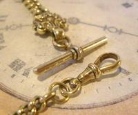 Antique Pocket Watch Chain 1870s Victorian Huge Brass Albert With T Bar & Fancy Mount (8 of 12)
