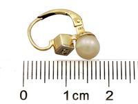 Pearl & Diamond, 14ct Yellow Gold Drop Earrings c.1930 (7 of 9)