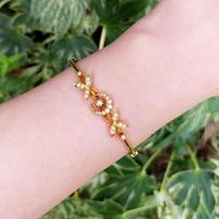 Vintage 14ct Yellow Gold Crescent Moon Pearl Bangle (4 of 8)