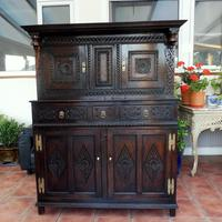 Country Oak Marquetry Inlaid Court Cupboard 1770