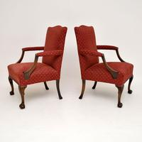 Pair of Antique Mahogany Chippendale Style Armchairs (11 of 12)