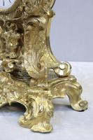 French Bronze Gilt Rococo Style Mantel Clock by Vincenti (5 of 9)